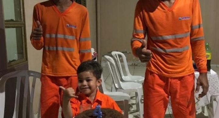 #Menino que admira garis ganha festa surpresa da mãe com a presença de trabalhadores em MT